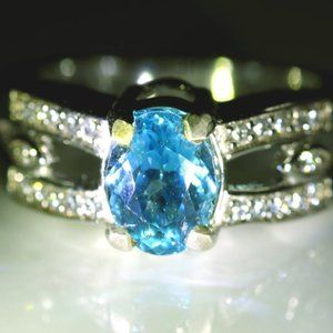 Jewelry - Blue Topaz 1.70ct Platinum Solid Silver Ring